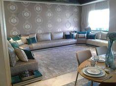 Un très beau salon marocain moderne gris bleu turquois par l'architecte d'intérieur Nesdesign - Casablanca Maroc
