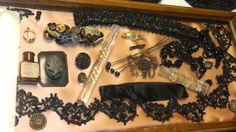 Victorian Mourning Antiques on display circa 1800
