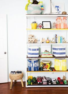 Bins in bright colors, stripes, and other patterns look decidedly fresh while also offering functionality.