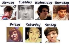 1D days of the week- Louis' face is perfect for Monday except I'm like half asleep and doing that- LOL