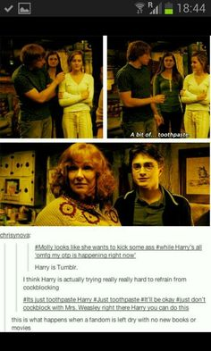 "I bet that when Ron and Hermione FINALLY kissed harry acted cool on the outside but on the inside totally fangirled. After the battle he waited until all was quiet in the Gryffindor common room...and began squealing like a perfect fangirl. ""OMG OTP OMG OTP OMGOMGOMG!!"""