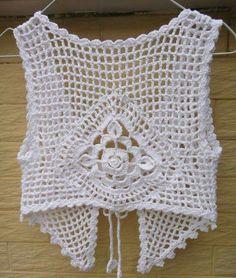 White Crochet Tie Front Crop Top Gypsy Vest by Tin Crochet Waistcoat, Gilet Crochet, Knit Crochet, Boho Hippie, Crochet Mignon, Mode Crochet, Tie Front Crop Top, Unique Crochet, Crochet Crop Top
