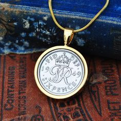 Coin Necklace, Sixpence 1947 1959 Necklace in Gold Mum, 1949 Bride Necklace Sixpence English Coin Necklace Holly Willoughby Bride Necklace, Coin Necklace, Pendant Necklace, Copper Anniversary Gifts, Anniversary Present, English Coins, 70th Birthday Gifts, Holly Willoughby, Gold Plated Necklace