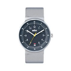 Braun Mesh Watch. 42mm / 11.5mm thick case. Quartz 3-hand movement with date display. Reg. $215, on sale for $139 at touchofmodern.com