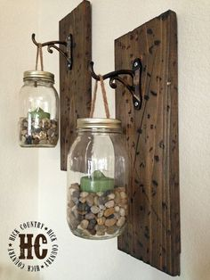 10. Wooden Hooks and Recycled Jars