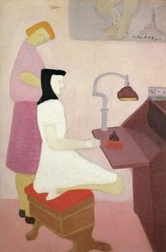 Milton Avery.  Two Figures at Desk, 1944.