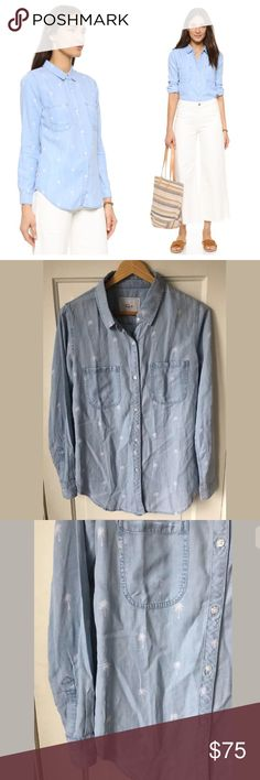 "Rails Chambray Carter Top Palm Print Blue Sz XS So cute and perfect for spring! Approximate measurements: Shoulder to shoulder: 15.5"" Underarm to underarm: 19"" Length: 28"" Sleeve: 23"" Rails Tops Button Down Shirts"