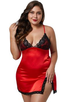 04083c23159 Red Satin And Lace Chemise Lingerie For Plus Size