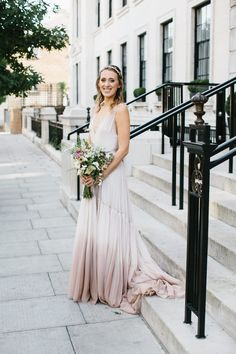 Bride in Jenny Packham Blush Ombre Wedding Dress - Chris Barber Photography | Jenny Packham Blush Ombre Wedding Dress | Valentino Rockstud Shoes | Zara & ASOS Bridesmaid Separates | London Fields Brewery