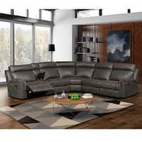 Shop Mitchell Modern Premium Top Grain Italian Leather Sectional Sofa - On Sale - Overstock - 27617560 Reclining Sectional With Chaise, Curved Sectional, Sectional Sofa With Recliner, Armless Chair, Sofa Bed, Rooms To Go Sectional, Curved Couch, Sleeper Sectional, Grey Leather Sectional
