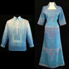 Barong Tagalog at Filipiniana Filipiniana Wedding, Filipiniana Dress, Wedding Gowns, Wedding Themes, Mob Dresses, Formal Dresses, Barong Tagalog, Anime Dress, Traditional Dresses