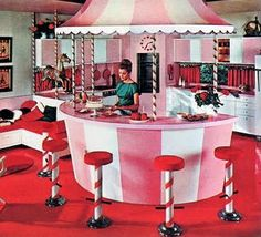 Pink carousel kitchen from the 1964 House Book of Home Styling Ideas, a souvenir from the New York World's Fair.