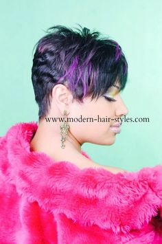 Short Pixie w/Purple Accents The color can be applied through several methods. Consult your Stylist for professional assistance!  Rainbow colored Pixie Styling Options are...... Quick Weave Custom Styled Human Hair Wig 27 Piece Your Own hair Trimmed