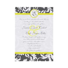 Charcoal Gray and Yellow Wedding Invitations by samack