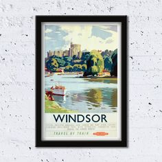 c.1950 Windsor // Travel By Train // British Railways // Frank Sherwin // High Quality Fine Art Reproduction Giclée Print / Vintage Poster by WiredWizardWeb on Etsy
