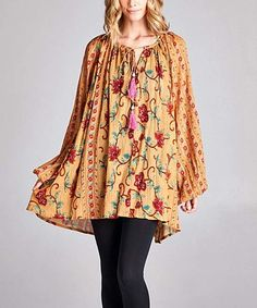 Another great find on #zulily! Camel & Pink Floral Tassel Tunic Dress - Plus #zulilyfinds