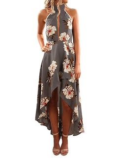 a06a29dced7b3 online shopping for ZESICA Women s Halter Neck Floral Printed High Low Beach  Party Maxi Dress from top store. See new offer for ZESICA Women s Halter  Neck ...