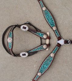 Turquoise barrel racer headstall and breast collar.