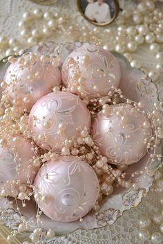 pink ornaments with pearls -- so, so pretty...
