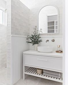 White bathroom ideas - white vanity, white bathroom tiles and and floor Classic White Bathrooms, White Bathroom Tiles, Bathroom Renos, Small Bathroom, Bathroom Ideas, Bathroom Gallery, Upstairs Bathrooms, Bathroom Inspo, Washroom