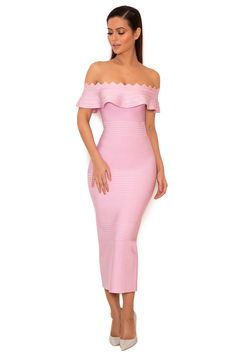 Clothing : Bandage Dresses : 'Amadea' Lilac Fluted Off Shoulder Dress