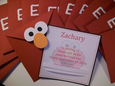 not crazy about Elmo but love the envelopes. Might use it for B's monster party! 1st Birthday Board, Boys 1st Birthday Party Ideas, Elmo Birthday, First Birthday Parties, Fourth Birthday, Birthday Stuff, Birthday Cards, Sesame Street Party, Sesame Street Birthday