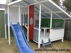 Mid century mod kids playhouse outdoor fort w slide. Great for backyard. Mid century mod kids playhouse outdoor fort w slide. Great for backyard. Outdoor Forts, Kids Outdoor Play, Kids Play Area, Backyard For Kids, Play Areas, Kids Fun, Outdoor Playset, Backyard Ideas, Kids Cubby Houses