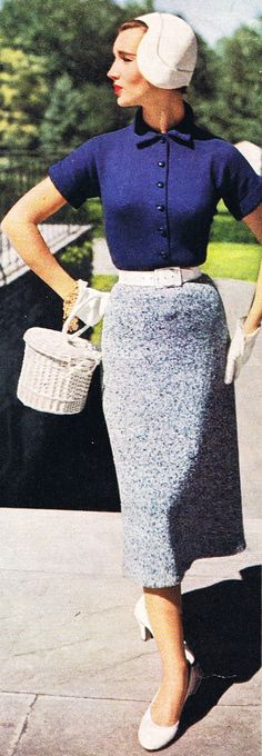 1953 early 50s knit wear sweater dress top skirt button blue grey speckle white straw purse hat color photo vintage fashions style