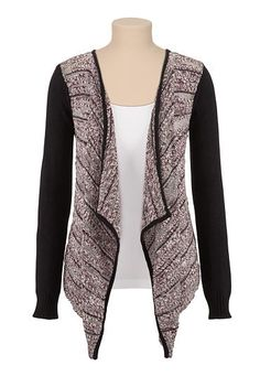 Marled open front cardiwrap with contrast sleeves (original price, $39) available at #Maurices