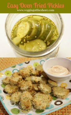 Oven fried pickles are easy to make and so much healthier than traditional fried pickles. Dip them in sriracha mayonnaise for an easy and healthy snack!