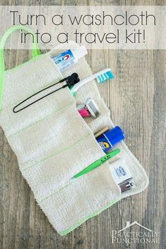 The best DIY projects & DIY ideas and tutorials: sewing, paper craft, DIY. Ideas About DIY Life Hacks & Crafts 2017 / 2018 Turn a washcloth into a DIY travel kit for your toiletries! This step-by-step tutorial will show you how, Easy Sewing Projects, Sewing Hacks, Sewing Tutorials, Sewing Crafts, Craft Projects, Sewing Patterns, Sewing Kit, No Sew Projects, Easy Patterns
