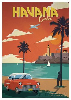 Volkswagen Bus Discover Havana Cuba Retro Poster Poster by DigiArtyst Venice Travel, Cuba Travel, Florida Travel, Beach Travel, Spain Travel, Hawaii Travel, Vintage Havana, Vintage Ads, Vintage Cuba