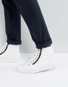 pretty nice 9f7be 7ab2b Steve Madden Punted Zip Hi Top Sneakers In White