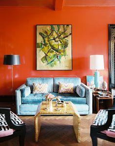 orange focal wall
