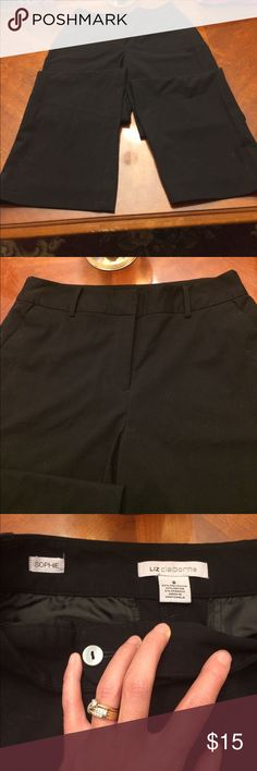 """Liz Claiborne dress pants """"Sophie"""" style Liz Claiborne black dress pants. Flat front, two front pockets, two back pockets with button closure. EUC, worn only a handful of times before they became too small 😯🍦. Inseam is 29"""". My loss... Liz Claiborne Pants Trousers"""