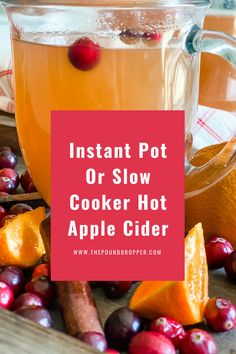 Instant Pot or Slow Cooker Hot Apple Cider via @pounddropper Hot Apple Cider, Weight Watchers Meals, Weight Watchers Smart Points, Slow Cooker, Pressure Cooker Recipes, Skinny Recipes, Ww Recipes, Diabetic Recipes, Instant Pot