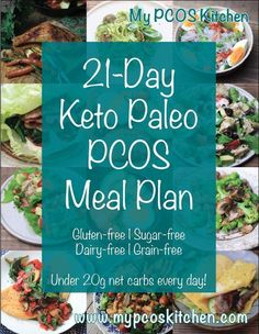 My PCOS Kitchen - Keto Paleo PCOS Meal Plan - This is a meal plan that is completely gluten-free, sugar-free, dairy-free, grain-free, and low-carb. There is a picture for every meal…More 25 Guilt Free Keto Diet Friendly Meal Ideas Pcos Meal Plan, 21 Day Meal Plan, Gluten Free Meal Plan, Paleo Meal Plan, Low Carb Meal Plan, Free Meal Plans, Paleo Food, Paleo Keto Diet, Meal Prep Keto