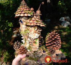 **Greenspirit Arts - Buckeye burl and pine-cone scales. Forest Fairy, Fairy Land, Fairy Tales, Fairy Garden Houses, Garden Art, Fairy Gardens, Fairies Garden, Los Kennedy, Enchanted Fairies