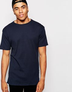 New Look Ribbed Longline T-Shirt in Navy