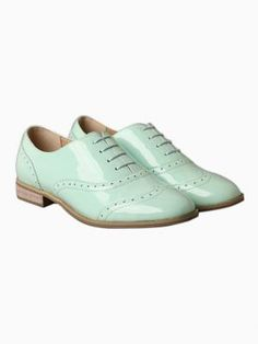 Pastel Green Patent Brogue Shoes