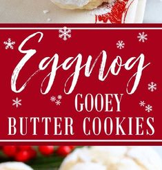 Eggnog Gooey Butter Cookies (from scratch!) ~ Melt-in-your-mouth Eggnog Gooey Butter Cookies at their finest and from scratch. Lemon Meringue Cookies, Lemon Cookies Easy, Lemon Crinkle Cookies, Gooey Butter Cookies, Raspberry Cookies, Tea Cookies, Lavender Cookie Recipe, Cookie Recipe Uk, Drop Cookie Recipes