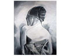 Malarstwo impastowe. Obraz czarno-biały, werniksowany.