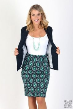 Blazer and necklace and skirt