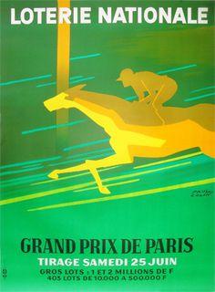 Galerie Montmartre: Original Vintage Posters Paul Colin Loterie Nationale Horse Race 1966 115 x 155 cm