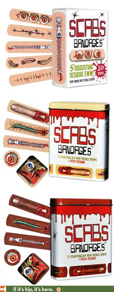 Scabs Bandages, Great looking for real or faux boo-boos and nicely packaged in equally fun boxes and tins. PD