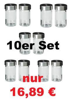 IKEA 10-er Set Gewürzgläser DROPPAR Glas Gläser Aufbewahrung Edelstahl NEU&OVP