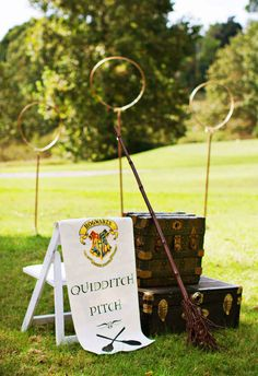 "Arrange a quidditch pitch on your lawn. | 29 Essentials For Throwing The Perfect ""Harry Potter"" Party"