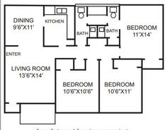 3 Bedrooms, 1 1/2 bath