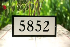 House Numbers  White w Satin BLACK Border House Custom House Number Plaque Address Plaque