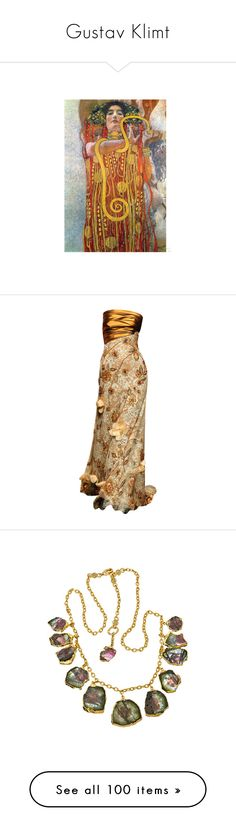 """""""Gustav Klimt"""" by alysianfields ❤ liked on Polyvore featuring art, dresses, gowns, long dress, vestidos, long brown dress, brown dress, long dresses, jewelry and necklaces"""